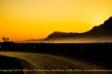 Sunset at the entrance of Springfontein Winery